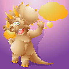 dinosaur triceratops with speech bubble