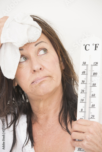 Woman suffering from hot temperatures