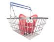 A piggy bank standing in a metal shopping basket