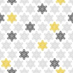 czarne szare żółte ażurowe płatki śniegu zimowy deseń