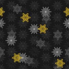 białe szare żółte płatki śniegu ażurowy zimowy deseń