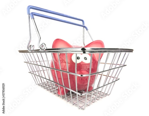 A piggy bank standing in a metal shopping basket
