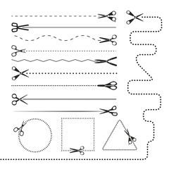 Scissors silhouettes dividers. Vector design elements