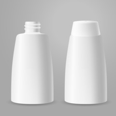 White plastic opened and closed bottles