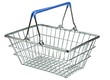 An empty metal shopping basket on a white background