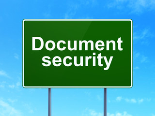 Security concept: Document Security on road sign background