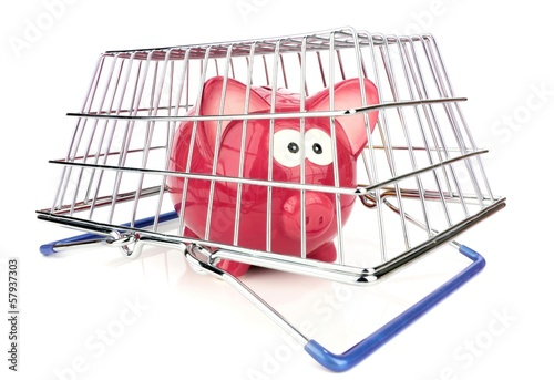 A piggy bank trapped under a shopping basket