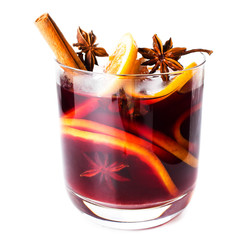 Hot red mulled wine isolated on white background with christmas