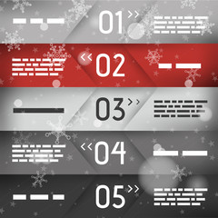 red christmas infographic five oblique options in middle