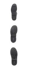 Three shoe soles collage.