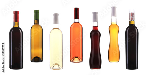 Set of seven bottles with wine