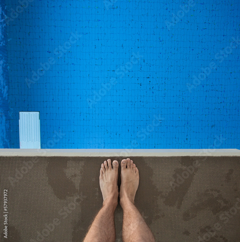 feet on diving platform