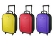 Colorful Travel luggage isolated on the white background.