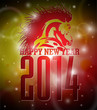 Vector Happy New Year 2014 design with horse
