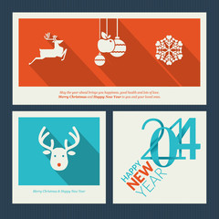 Set of Christmas and New Year greeting card templates
