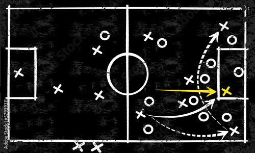 Abstract vector tactic strategy concept sketched on a blackboard