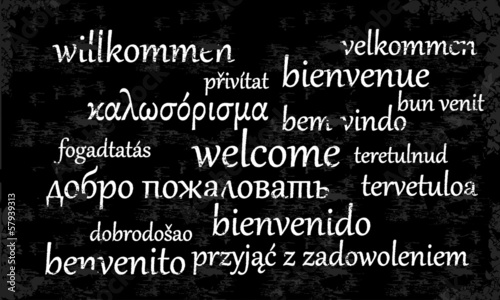 Welcome written in different languages on a chalkboard