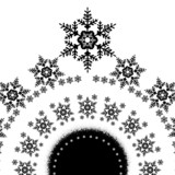 Snowflakes in a circle card, vector monochromatic illustration
