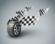 Sport racing wheel with flapping flags - eps10 vector
