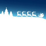 Christmas Sleigh Silent Night Blue Xmas Card