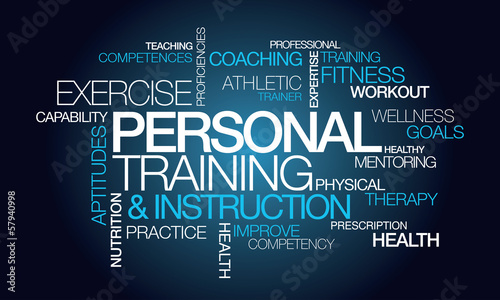 Personal training & instruction word tag cloud illustration