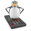 Penguin on a big calculator