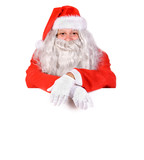 Santa Claus with a blank sign isolated on white background