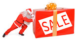 Santa Claus with Christmas box isolated on white background