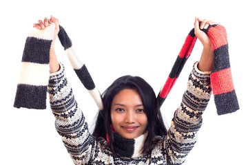 cheerful girl holding scarf
