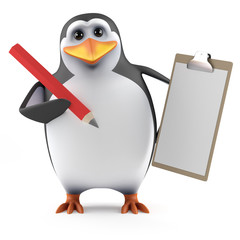 Penguin with clipboard and red pencil