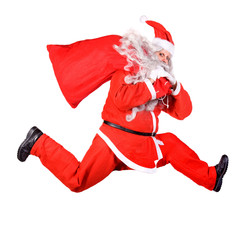 Santa Claus is running with a bag on white background