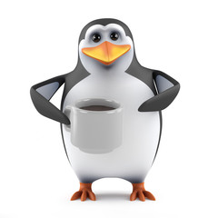 Penguin has a cuppa