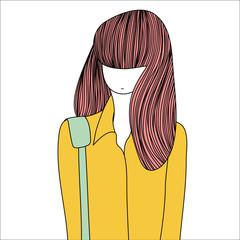 Long-haired cartoon girl