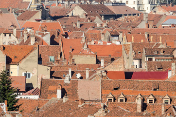 View From Above Of Medieval Tiled Roofs
