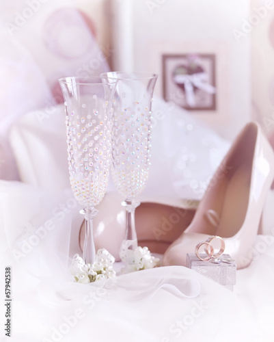 Wedding goblets and accessories for bride, selective focus