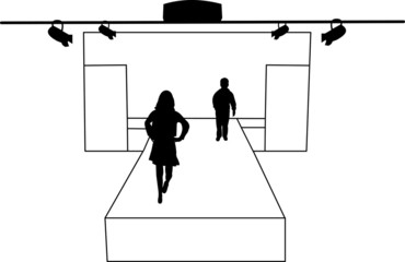 Catwalk and children models silhouette layered