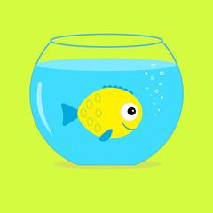 Yellow  fish in the aquarium. Card.