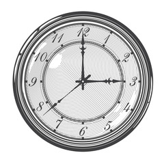 Vector illustration  of  vintage clock in engraved style