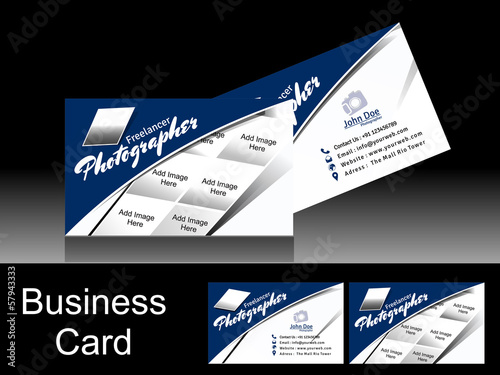 Vector Blue Photographer Business Card
