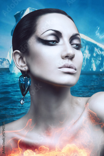 brunette winter woman in flame with diamond earring