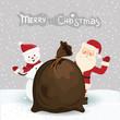 Santa Claus and snowman, christmas card in vector