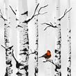 Birch in snow, winter card in vector