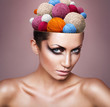 woman with ball of threads in head