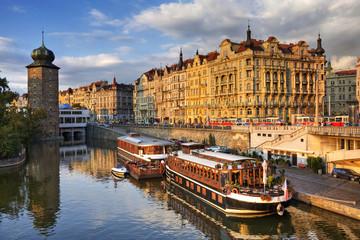 Masarykovo embankment. Vltava river. Prague.