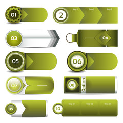 Set of green vector progress, version, step icons