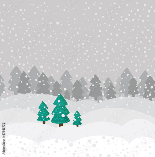 Forest cartoon background in vector