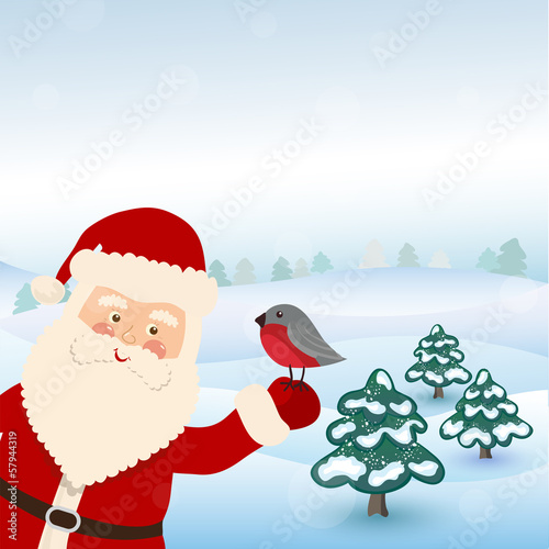 Santa Claus hold bird in vector