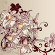 Beautiful vector background with lily in vintage style