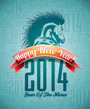 VectorVector Happy New Year 2014 design with horse and ribbon