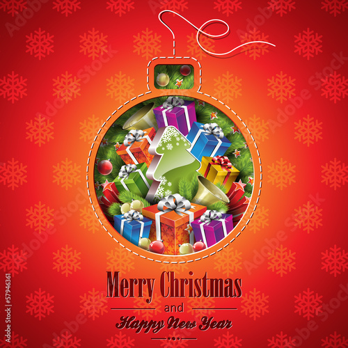 Vector Christmas illustration with abstract ball design